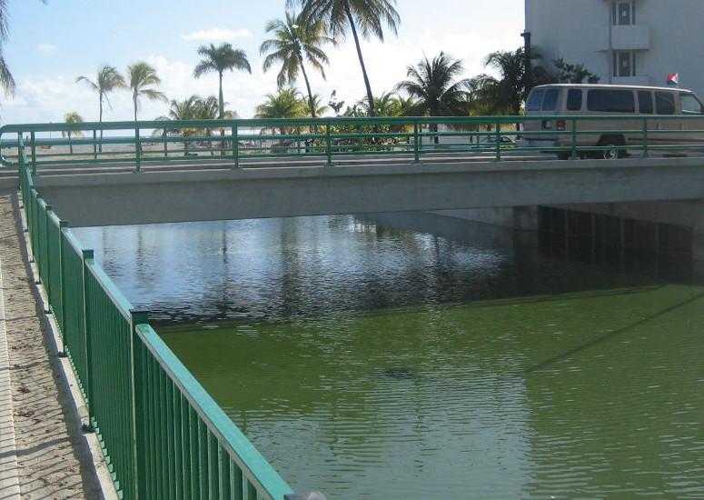 bridge from pondside after